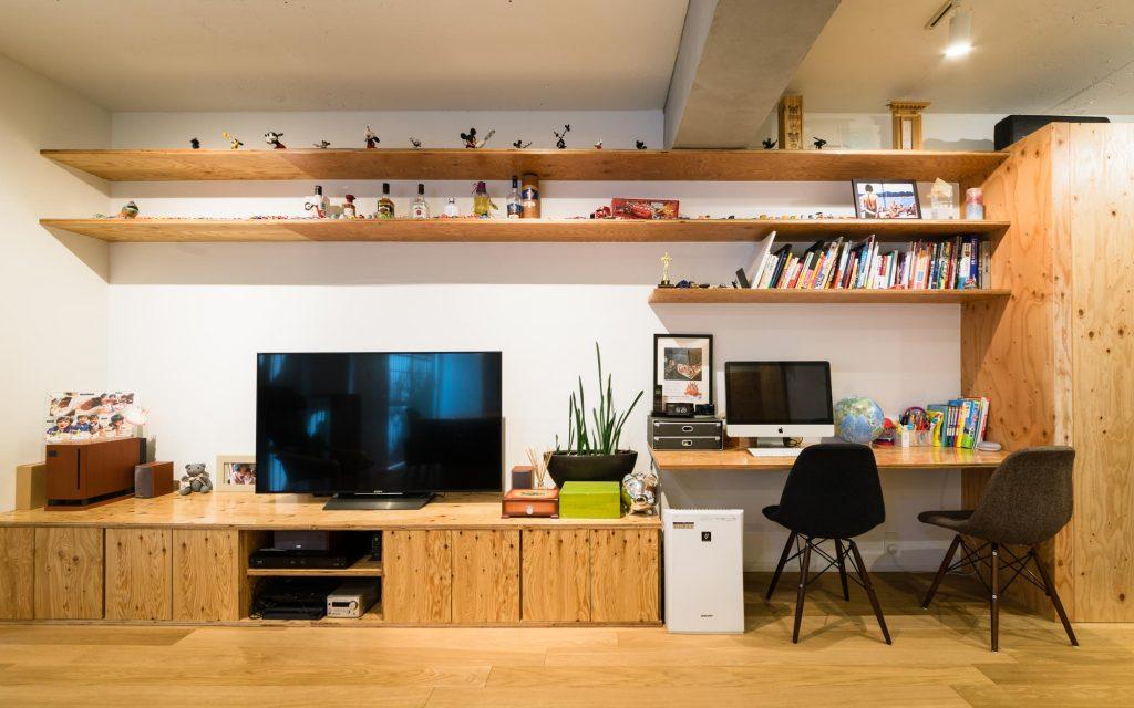 リノベーション,マンション,造作収納,造作家具,造作,ダイニングテーブル,庭,家族,感想,インタビュー